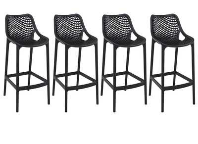 Black Modern Bar Stool 65cm LUCY (set of 4)