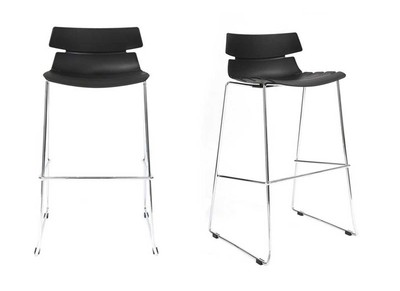 Black Modern Bar Stools IRIS (set of 2)