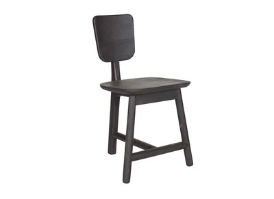 Black Modern Chair with 3 Wood Legs TREFLE
