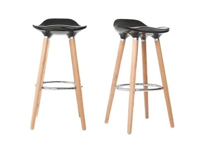 Black Modern Scandinavian Bar Stool (set of2) GILDA