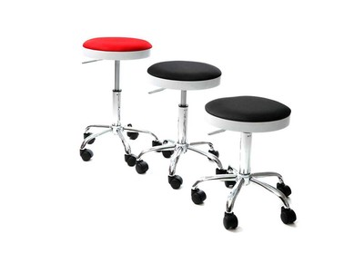 Black Modern Stool on Casters THEMIS