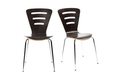 Black Modern Wood Stackable Chairs LENA (set of 2)