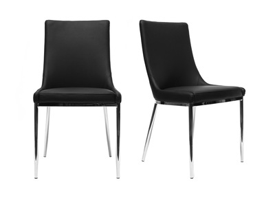 Black Polyurethane and Chromed Steel Modern Chair IRA (set of 2)