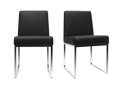 Black Polyurethane and Chromed Steel Modern Chair JUNIA (set of 2)