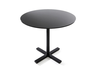 Black Tempered Glass Modern Round Dining Table BAYA