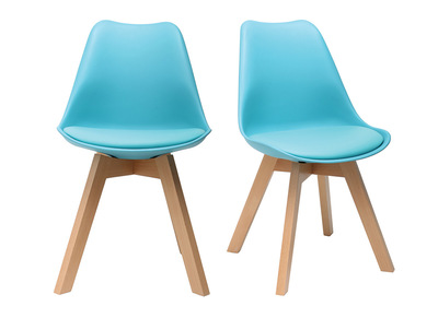 Blue Modern Chair with Wooden Legs PAULINE (set of 2)