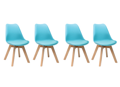 Blue Modern Chair with Wooden Legs PAULINE (set of 4)