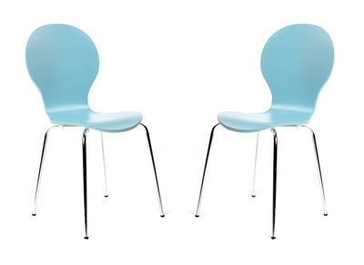 Blue Stackable Modern Chair NEW ABIGAIL (set of 2)
