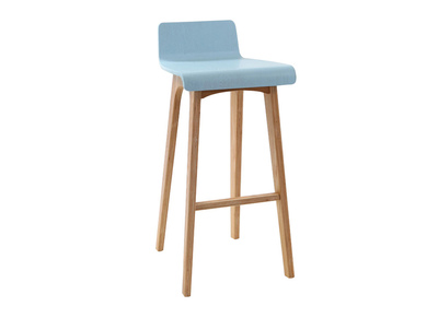 Blue Tainted Wood Modern Scandinavian Bar Chair/Stool BALTIK