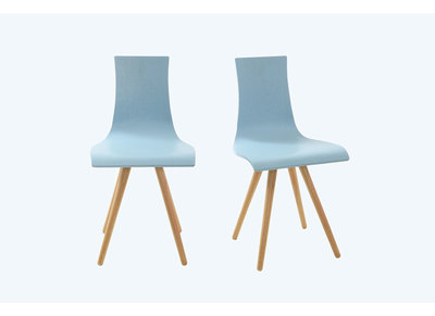 Blue Tinted Wood Chairs BALTIK (set of 2)