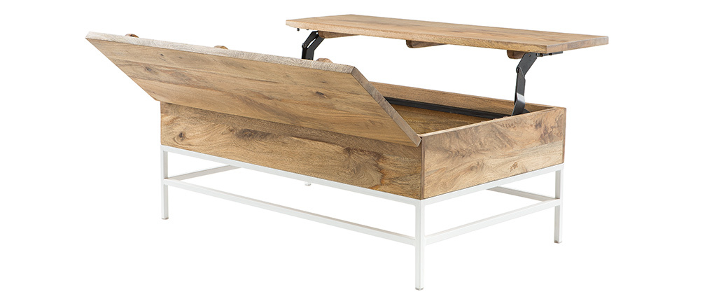 BOHO adjustable coffee table in mango wood and white metal