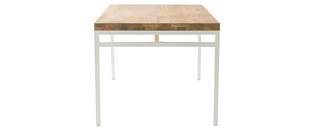 BOHO designer dining table in mango wood and white metal 160cm