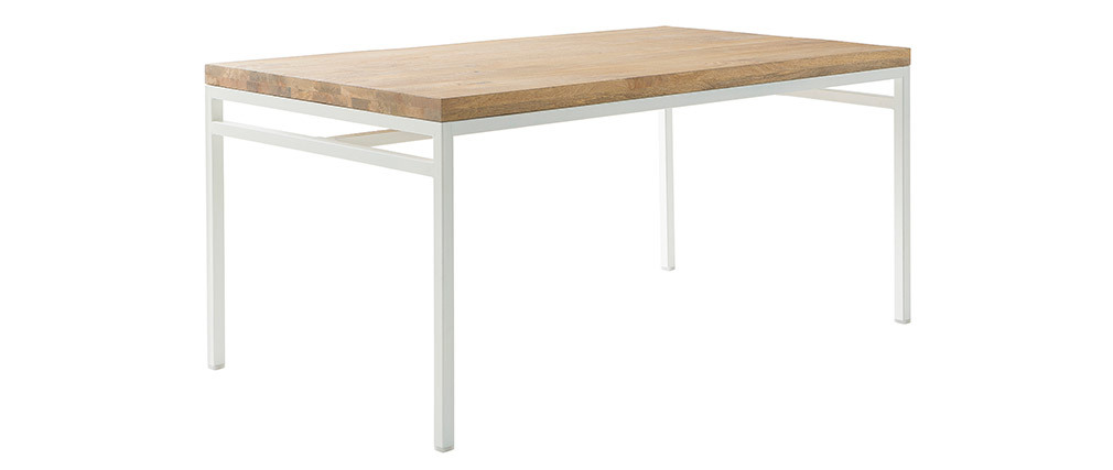 BOHO designer dining table in mango wood and white metal L160