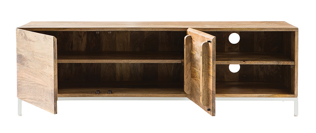 BOHO designer TV stand in mango wood and white metal 145cm
