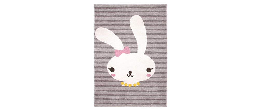 BONNIE woven polypropylene children?s rug with rabbit motif 120x170cm