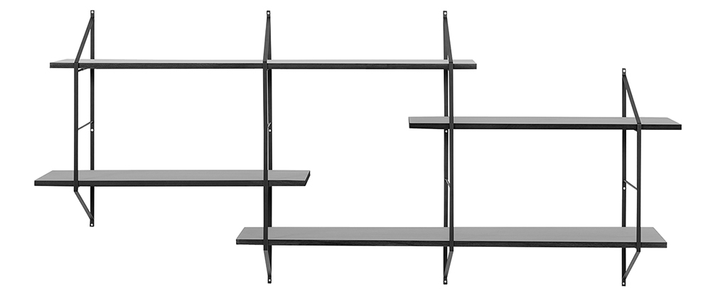 BRIDGE XL black wooden wall shelves
