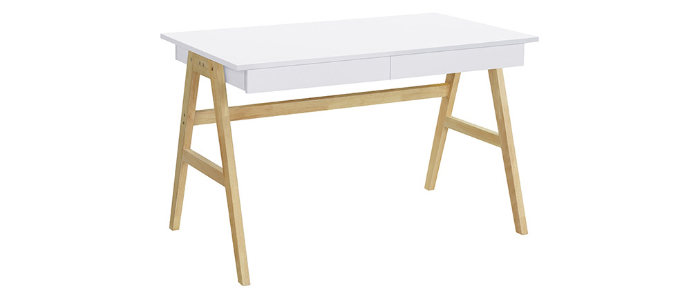 BROOK white wood designer desk