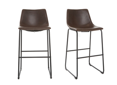Brown Vintage Bar Stool 73 cm PU NEW ROCK (set of 2)