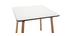 BRUNCH designer square white table with wooden legs L80