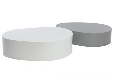 CAMILLE Matte White and Grey Modern Coffee Table (set of 2)