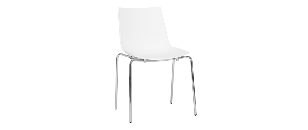 CELEBRATION set of 2 designer white stackable chairs with metal legs