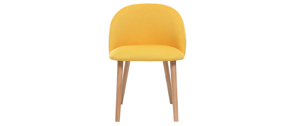CELESTE yellow and wood designer chair