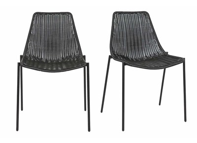Chairs design synthetic rattan black set of 2 inside/ outside IZIS