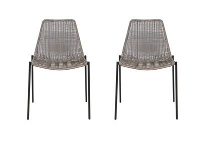 Chairs design synthetic rattan grey set of 2 inside / outside IZIS