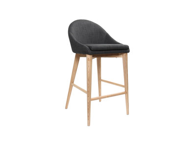 Charcoal Grey Polyester and Wood Bar Stool DALIA