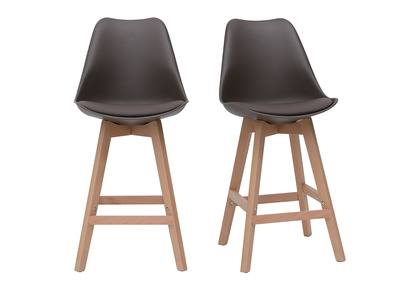 Chocolate Brown and Wood Modern Bar Stools 65cm PAULINE (set of 2)