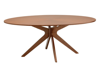 Chocolate Brown Oak Modern Oval Dining Table CONAN