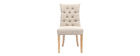 Classical beige fabric chair light wooden legs VOLTAIRE