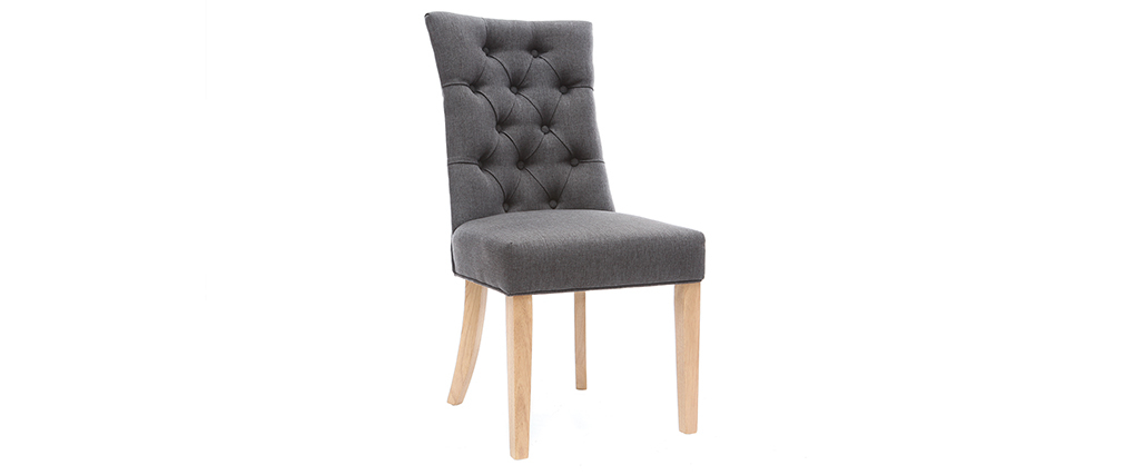 Classical dark grey fabric chair light wooden legs VOLTAIRE
