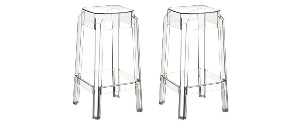 CLEAR Transparent Modern Bar Stools 65cm Set of 2