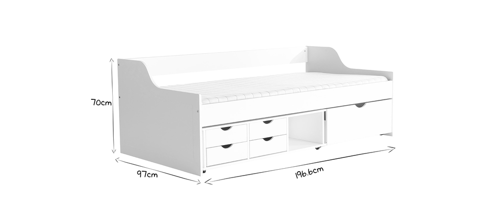 CLEO White Kids? Bed with Drawers 90x190