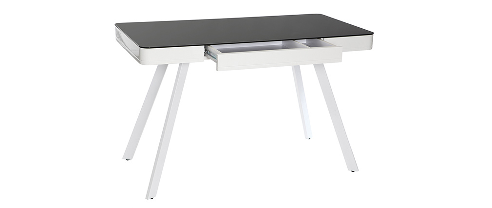 CLEVER digital multimedia desk - black glass and white metal