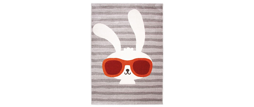 CLYDE woven polypropylene children?s rug with rabbit motif 120x170cm