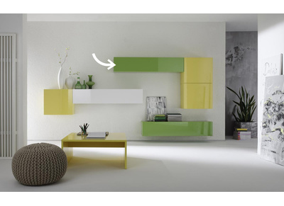 COLORED Glossy Green Horizontal or Vertical Wall TV Unit