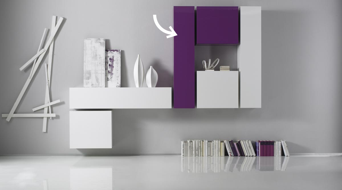 COLORED Glossy Lilac Horizontal or Vertical Wall TV Unit