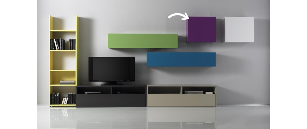 COLORED Glossy Lilac Square Wall Unit