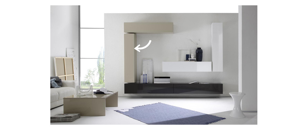 COLORED Glossy Off-White Horizontal Or Vertical Wall TV Unit