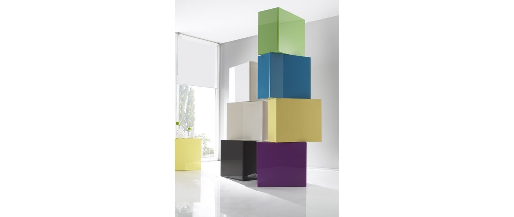 COLORED Glossy Off-White Square Wall Unit