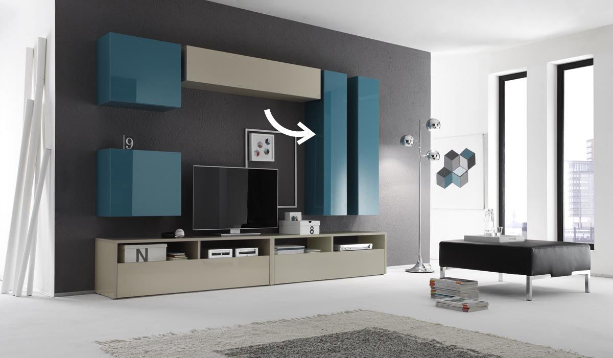 COLORED Glossy Turquoise Horizontal or Vertical Wall TV Unit