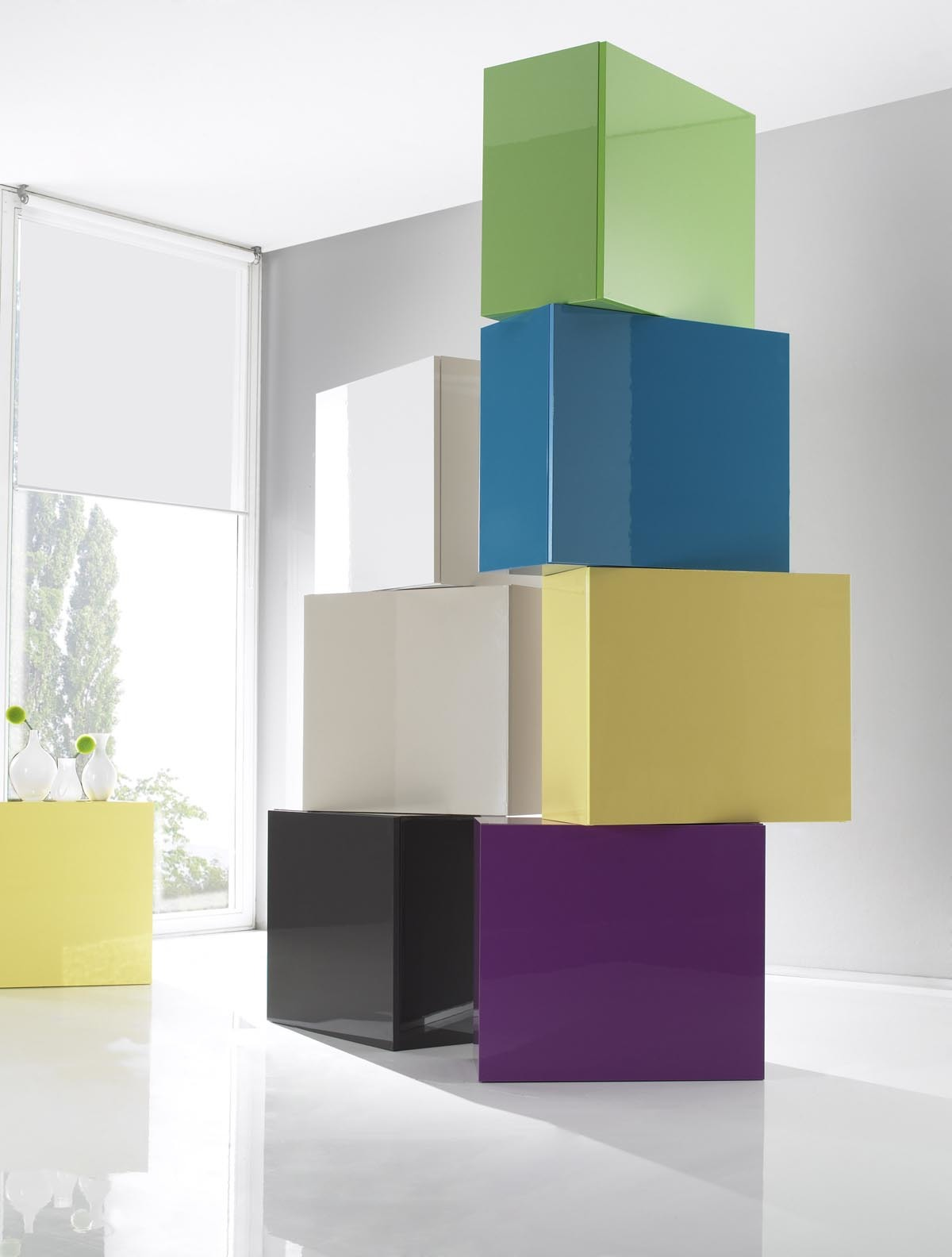 COLORED Glossy Turquoise Square Wall Unit