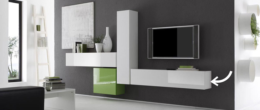 COLORED Glossy White Horizontal Or Vertical Wall TV Unit