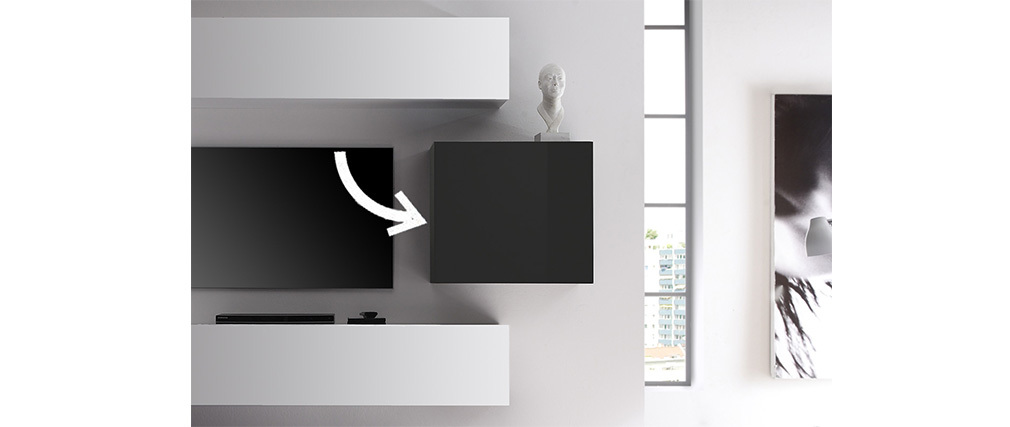 COLORED Modern Glossy Charcoal Grey Square Wall Unit