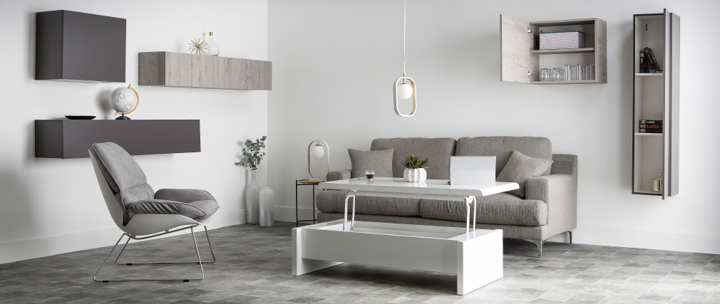 COLORED Modern Grey Wood Square Wall Unit