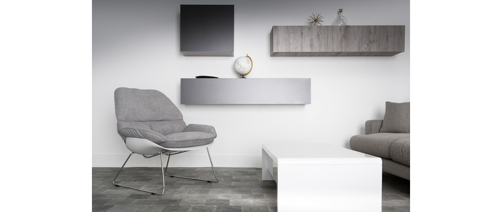 COLORED Modern Matte Charcoal Grey Square Wall Unit