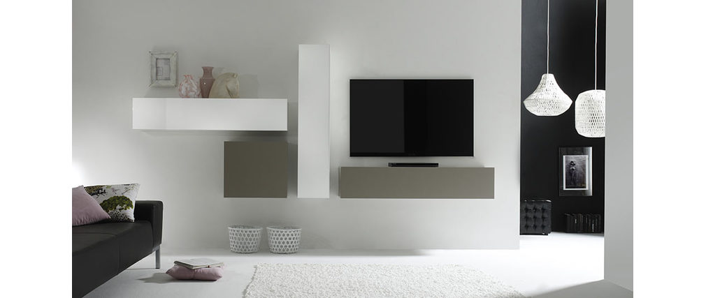 COLORED Modern Matte Taupe Grey Square Wall Unit