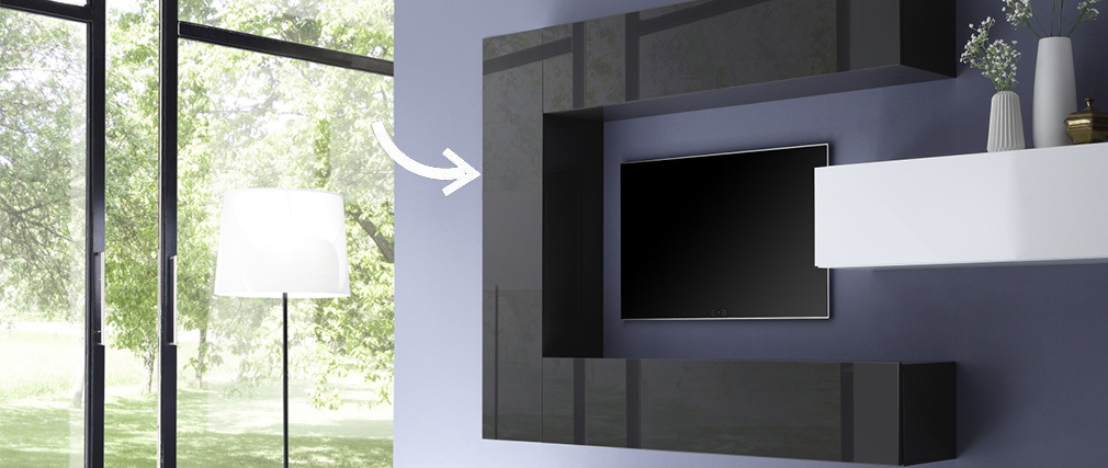 COLORED V2 Modern Charcoal Grey Vertical TV Wall Unit